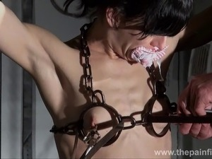 Tit tortured and caged slaveslut Elise Graves tower of pain punishments and...