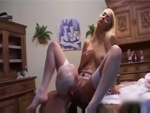 Lovely Blonde Fucks Old Man