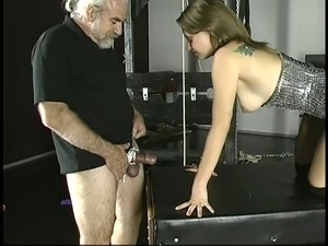 Old guy pounds young brunette with small tits jailed in stocks
