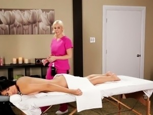 Oiled up lesbian massage