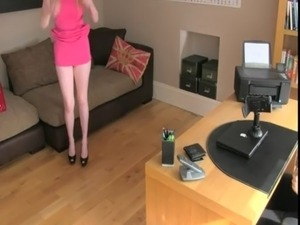 Busty blonde amateur gives rimjob in office free