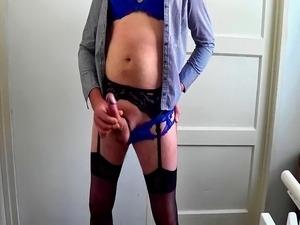 Crossdressed cock play & cum