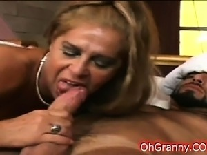 hot blonde granny sucking on a sleeping cock