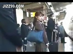 japanese schoolgirl creampie fucked in train