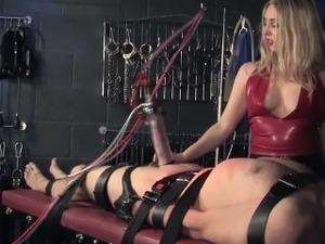 English femdom punishes sub with machine