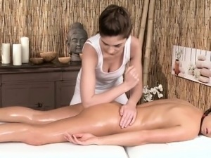 Erotic lesbian massage with european models