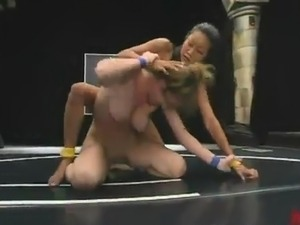 Spicy bimbos Jade Marxxx And Lucy Lee Wrestling And Strapon screwing