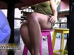 Upskirt shaved pussy shots of a stunning