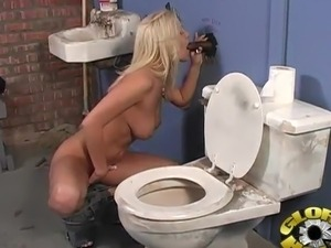 Blonde inside the Gloryhole chewing great cocoa tackle