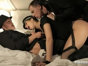 Beautiful Police Officer Ferrera Gomez has made love fat By couple boys