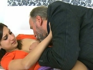 Beautiful young lady gets licked by insane old fucker