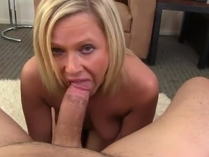 Overweight Blonde Mom Anna Joy Milks the boner Dry onto Her moth