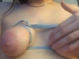 Slapping my saggy tied tits and nasty hairy pussy
