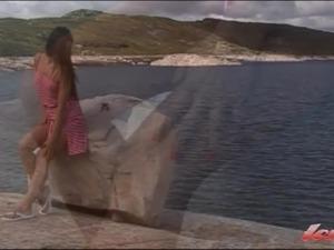 Nordic solo girl outdoor masturbation with dildo
