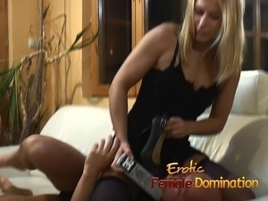 Submissive slave girl has a great time sucking on sex toys