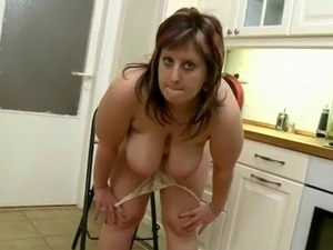 Chubby Mom Rubs Her Pussy On The Kitchen Floor