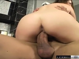 Naughty young Brooke Scott takes a big dong in her skilled hands