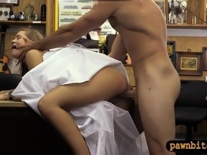 Hot blond pawns her wedding gown and banged by pawn guy