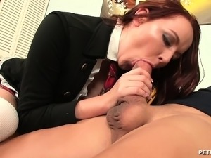 Seductive redhead schoolgirl gets pumped full of cock by an older guy
