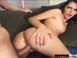 Long-legged Jenna Presley gets her pretty face covered in hot jizz