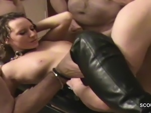 German Milf in Creampie Bukkake Gangbang by Many Stranger