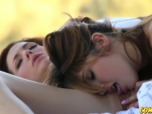 Young hot girls making out and licking pussy outdoors
