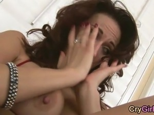 MILF crying after reaching super intense orgasm solo