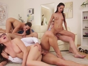 three couples swinger party