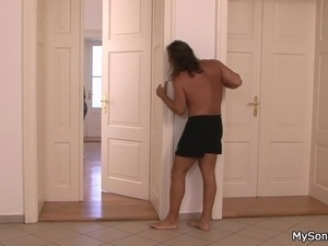 Tiny titted brunette gf cheating with father in law