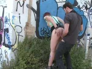 European redhead gets her ass punished outside