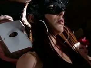 Masked beauty gets fucked in the presence of a few people