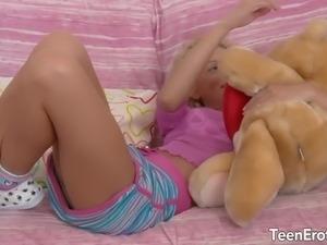 Blonde teen take big cock in her ass