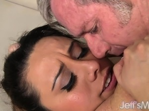 Enticing and chubby young brunette has wild sex with a horny old man