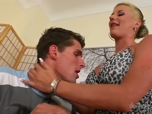 Perverted blonde seduces young man and gives him best ever blowjob in his life