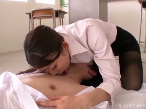 Japanese Teacher Doing a 69 in Classroom with Pantyhose On