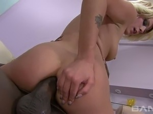 Black kinky guy pleases all fuck holes of naughty blondie Kelly Wells tough