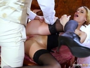 Horny housemaid in stockings and boots get a rough fucking