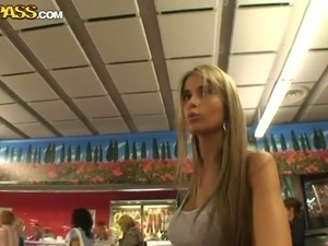 Long haired tight Euro teen Nessa walks around the mall shopping
