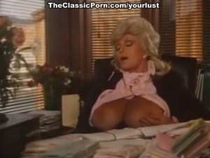 Busty mature blonde secretary masturbates while watching fucking couple