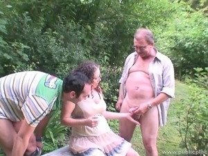 Pregnant girl gangbanged in the park by four dirty guys