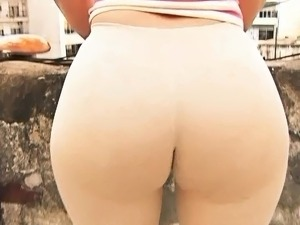 Huge Ass Tiny Waist Cameltoe in Tight Spandex and Thong