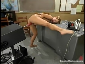 Slutty blonde Emily takes a crazy ride on a fucking machine