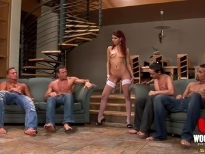 Four studs gangbang the redheaded slut in stockings