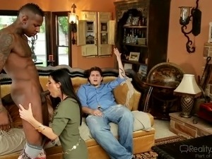 Perverted wife sucks big black cock in the presence of her husband