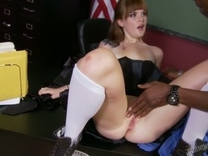 Pale slutty coed girl lures her nerdy black teacher for casual sex in college