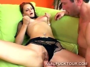 Two big dicks break a redhead sluts hot ass in two