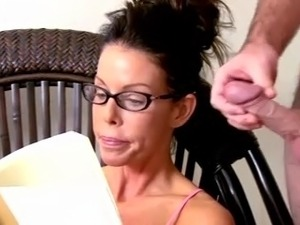 Wanking and cumming over milf with glasses