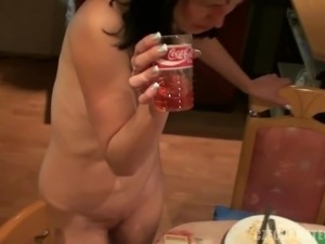 Drunk Brunette Having Her Pink Shaved Pussy