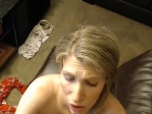 POV of wife blowjob and facial cum shot