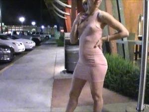 Pretty chick in a wicked slutty dress flashing in public